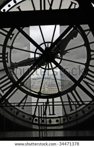 The Sacre Coeur seen through a window of museum D'Orsay, in Paris