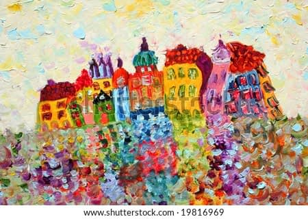 Funny houses painting. Art is created and painted by the photographer.