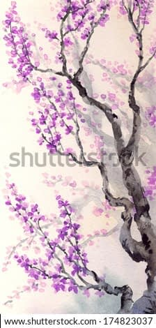 Watercolor spring background in Japanese style. Purple flowers and buds on the branches of an old tree