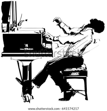 Jazz pianist in black and white - vector illustration