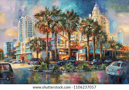 Street after rain. Architectural landscape of the beloved city of Sochi. Painting: canvas, oil. Author: Nikolay Sivenkov