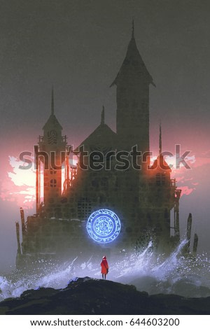girl in the red coat standing on rocks with ocean waves looking at the magic castle with digital art style, illustration painting