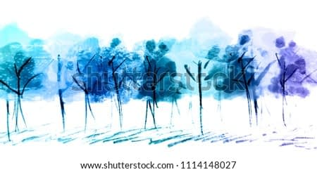 Background image of wild animals reflected on blue tone of paintings tree.