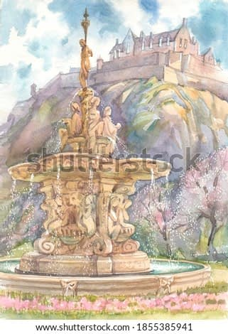 The Ross Fountain and Edinburgh Castle on a cliff in the Scottish capital on a spring day is a watercolor painting in lilac and pink.