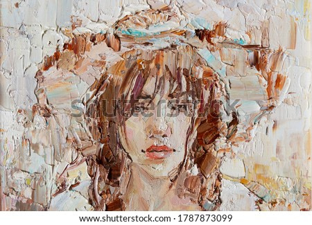 The painting is created in oil with expressive brush strokes. A young girl in the straw hat is depicted on a white background.