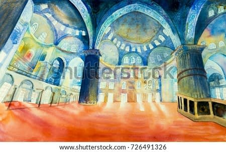 Istanbul, Turkey, The Blue Mosque. A landmark of the world is a tourist attraction in the Turkey.  Watercolor painting landscape, illustration