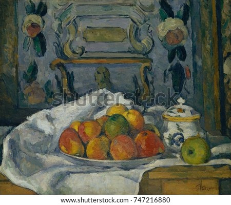 Dish of Apples, by Paul Cezanne, 1876-77, French Post-Impressionist painting, oil on canvas. This still life was painted in the house of the artists father in Aix-en-Provence