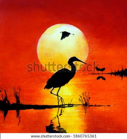 Sunset over the reservoir. Silhouette of a heron and ducks. Oil painting
