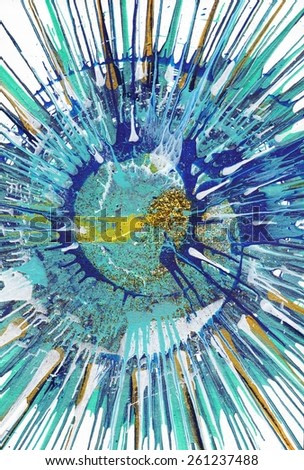 Abstract expressionism painting - Gold Fish | Colorful acrylic blob drawing Jackson Pollock style