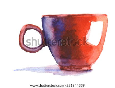 red cup, watercolor illustration