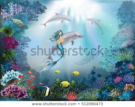 Underwater world with dolphins and mermaid.