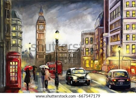 oil painting on canvas, street view of london. Artwork. Big ben.  Red umbrella, bus and road, telephone. Black car - taxi. England