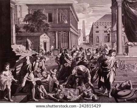 THE PLAGUE OF ASHDOD or EPIDEMIC AMONG THE PHILISTINES. The Old Testament scene shows God's destruction of the temple and idol of Dagon. Engraving by Picart after Poussin painting of 1660.