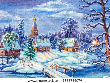 Winter snow, country landscape. Log houses. Bridge over the river. Watercolor painting.