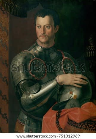 COSINO I DE\x90 MEDICI, by Workshop of Bronzino, 1550_74, Italian Renaissance painting, oil on wood. Cosimo ascended to power when, the Duke of Florence, Alessandro de Medici, was assassinated in 1537