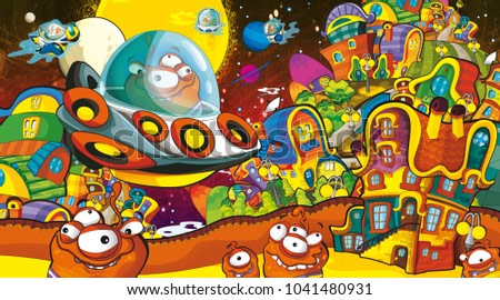 cartoon scene with some funny looking alien flying in alien machine - white background - illustration for children