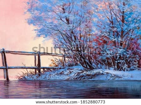 Winter landscape with a river and a bridge. Original oil painting.
