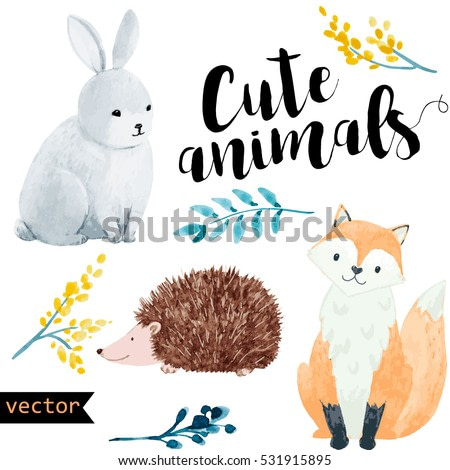 Vector watercolour illustration set of cute animals. Fox. Hare. Hedgehog.