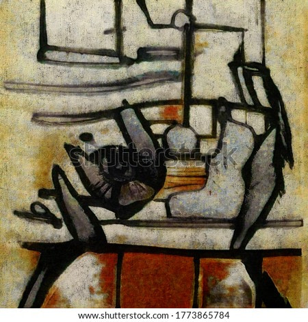 Modern abstraction in the style of cubism. The painting is made in oil on canvas with elements of aged coating.