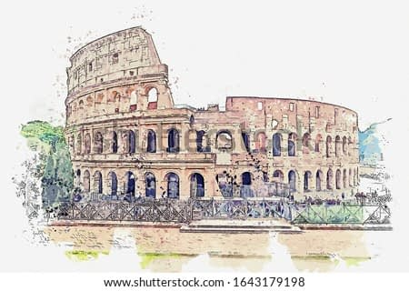 Watercolor drawing picture of Colosseum at Rome Italy.