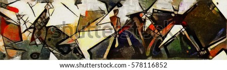 Panoramic abstract geometric painting in the style of Picasso. Oil on canvas with elements of pastel painting.