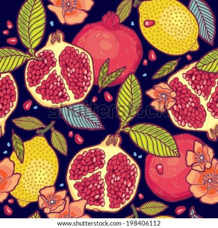 Tropical fruits garden at night vector pattern.