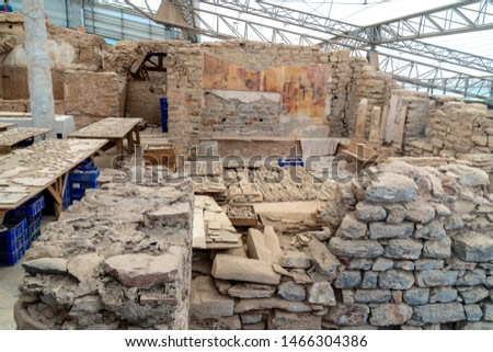 Restoration process of terrace house ruins with mosaics and wall drawings, paintings in historical ancient city Ephesus, Izmir, Turkey.
