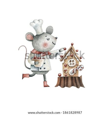 A pastry chef mouse decorates a Christmas cake - watercolor illustration isolated on white background. Christmas, new year, preparation for the holiday, baking.