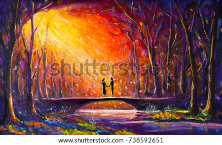 Original oil painting Lovers on bridge in forest at night in Beautiful Romantic rays - Modern impressionism painting.