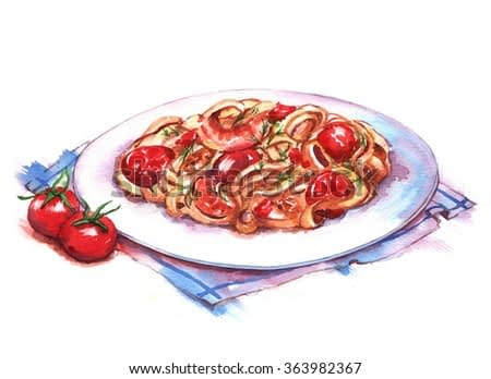 Hand-drawn watercolor illustration of the pasta on the plate. Isolated drawing of the national Italian food. Pasta with shrimps and tomatoes.