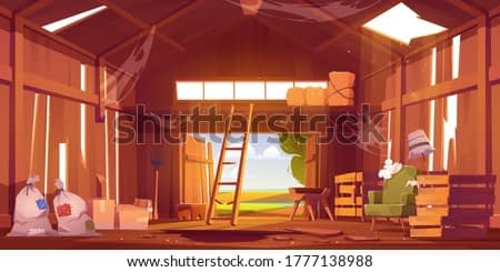 Abandoned barn interior with broken furniture, spiderweb and destroyed floor. Neglected farm house, ranch with haystacks, sacks, fork and open gate, old storehouse building Cartoon vector illustration