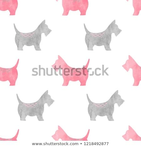 Seamless pattern with grey and pink watercolor terrier dogs.