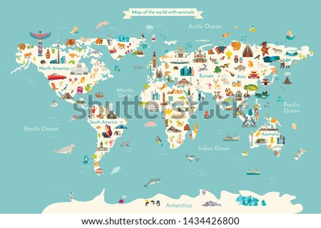 Landmarks world map vector crtoon illustration. Cartoon globe vector illustration. landmarks, signs, animals of countries and continents. Abstract map for learning. Poster, picture, card