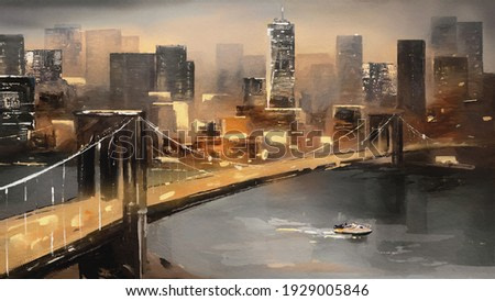 oil painting on canvas - view of New York, river and bridge. modern Artwork - American city, urban illustration
