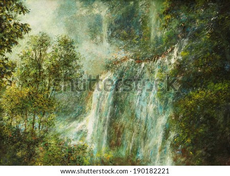 Oil color painting on canvas, Picture of waterfall and forest in Thailand.