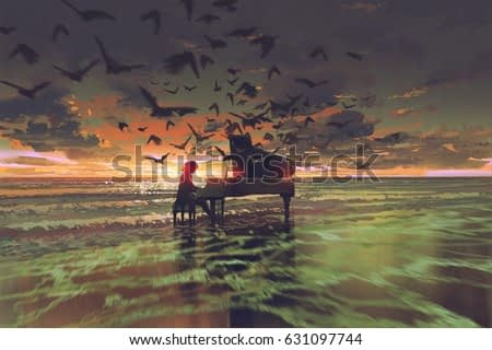 digital art of the man playing piano among flock of birds on the beach at sunset, illustration painting