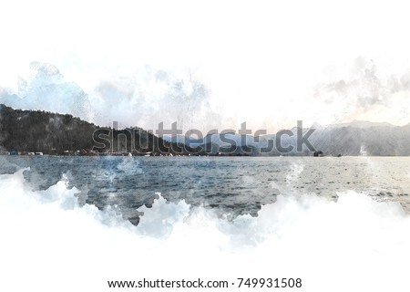 Abstract Colorful mountain peak and river on watercolor painting background.