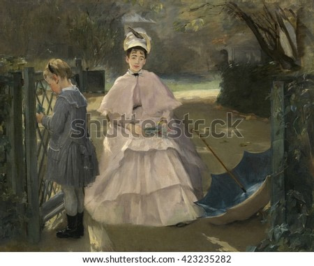 Nanny and Child, by Eva Gonzales, 1877-78, French impressionist painting, oil on canvas. Gonzales was the only formal pupil taught by Manet. This painting was shown at the Salon of 1878