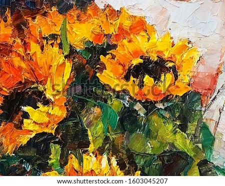 Bouquet of beautiful sunflowers, created in bright saturated colors. Palette knife technique of oil painting.