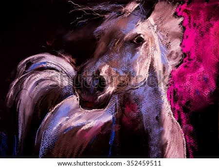 Pastel portrait of a white horse on a cardboard. Modern art