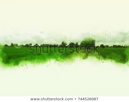 Abstract beautiful tree and Field on colorful watercolor painting background. Green Shape brush