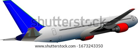 Airplane on the air. Color illustration