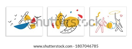 Set of Abstract Minimalism Vectors art with primary color shapes and people For print, decoration Painting, Modern and trendy illustration. Hand drawn with Bauhaus and Mondrian color's.