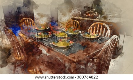 Family Table Setting - Water Painting Effects
