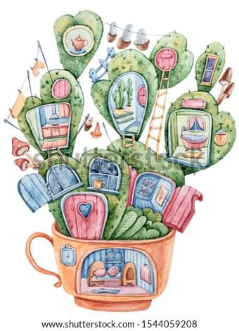 Illustration for the children, print, holiday card, home decoration. Watercolor fairy illustration of gnome or hedgehogs house in a cactus. Cute house with windows, doors and lovely interior.