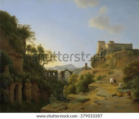 The Gulf of Naples with the Island of Ischia in the Distance, by Josephus Augustus Knip, 1818, Dutch painting, oil on canvas. Picturesque view of the island of Ischia in Gulf of Naples from the site o
