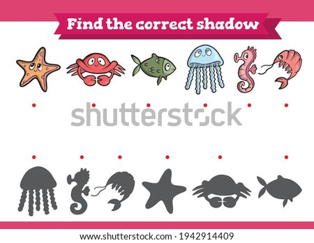 Find the correct shadow. Marine animals: starfish, crab, shrimp, fish, jellyfish, seahorse Educational game for children. Cartoon vector illustration.