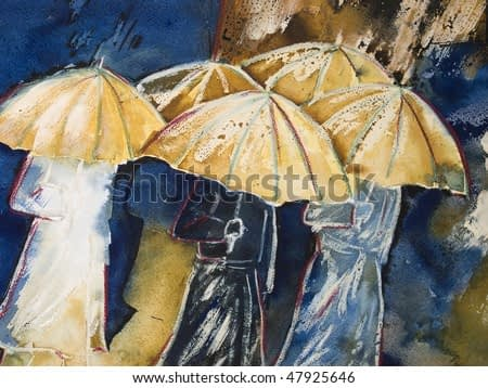 Painting in watercolor, ink and wax-crayon of people with umbrella's in the rain