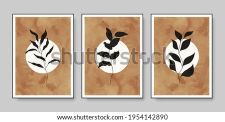 Set of minimalist botanical vector illustration as abstract composition with leaves. Ideal for art gallery, modern wall art poster, minimal interior design.