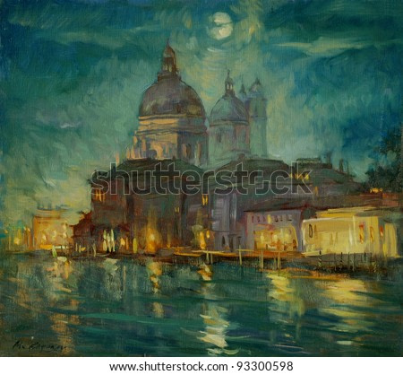 night venice, painting by an oil paint on a cardboard,  illustration